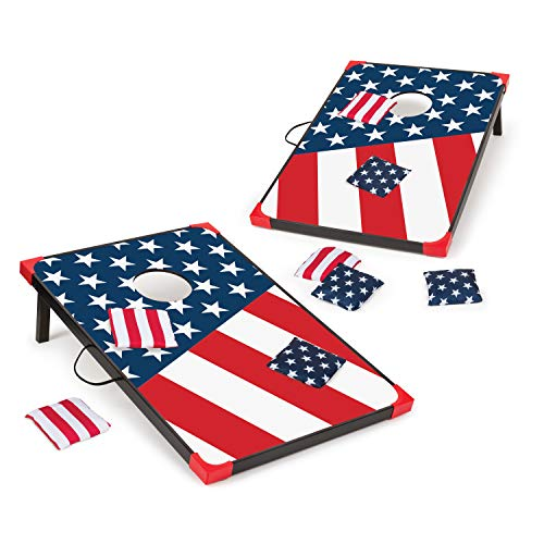 (EastPoint Sports Cornhole Game Set Bean Bag Toss MDF - 2' W x 3' L - Built-in Storage, Convenient Carry Handles and 8 Premium Bean Bags)