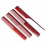 4pcs/set Anti static Red Hairdressing Comb Platic Straightening Comb Barber Hair Different Design Combs Set
