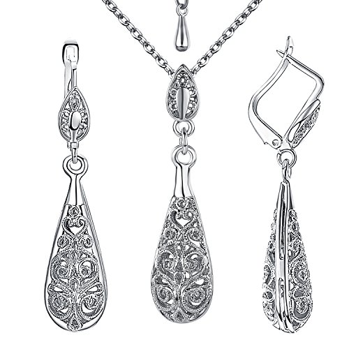 Yoursfs Vintage Jewelry Set 18K White GP Antique Tear Drop Filigree Floral Pendant Necklace Earring Jewelry Set