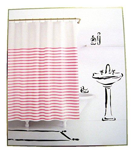 Kate Spade Harbour Stripe Pink/White Fabric Shower Curtain (Kate Spade Curtain)