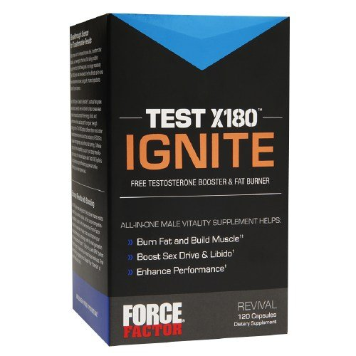 Force Factor TEST X180 IGNITE Free Testosterone Booster & Fat Burner, Capsules(pack of 3) by Force Factor
