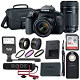 Canon T7i Video Creator Kit w/18-55mm Lens, Rode Microphone, 32GB card + Canon 55-250mm lens, SLR Bag & Bundle      For Sale