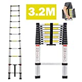dicn Telescopic Ladder 3.2m 10.5Ft Aluminium Lightweight Portable Max Load 330lbs 11 Steps Extendable Foldable Ladder for DIY Home Work Builder Garden Office Loft Attic