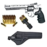 "Dan Wesson Licensed 6"" Silver .177 Caliber CO2 BB Air gun Revolver Starter Package - Includes 25 Extra Cartridges/Shells and Holster - 6 Inch Silver"