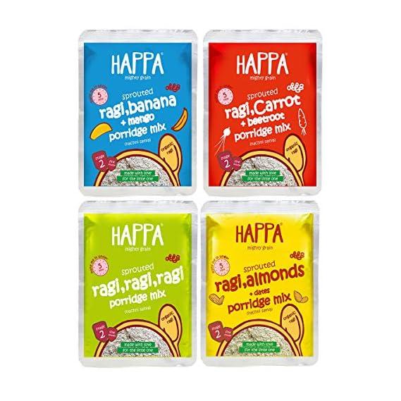 Happa Organic Porridge Trial Pack Stage 2 (Each Pack 50 Gram) (4 Pouches) 6 Months +