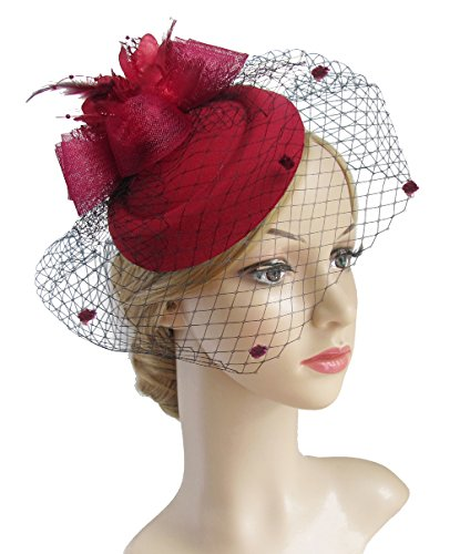 K.CLASSIC Fascinator Hair Clip Pillbox Hat Bowler Feather Flower Veil Wedding Party Hat (Burgundy)