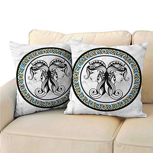 clayee Decorative Pillowcase Throw Pillow Zodiac Gemini,Antique Sisters 18
