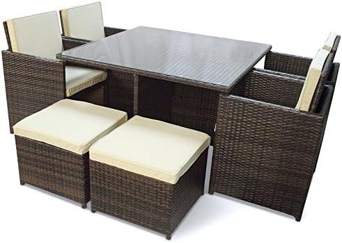 Easy Life Vida fácil jardín Cubo Conjunto, marrón, con Mesa, 4 sillas y 4 taburetes: Amazon.es: Jardín