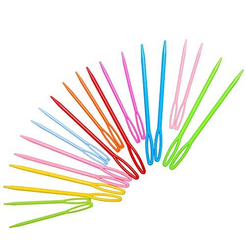 Hekisn Large-Eye Plastic Sewing Needles, 20 Pieces