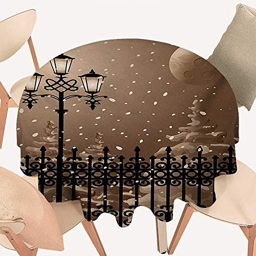 W Machine Sky Lantern Wrinkle Free Tablecloths Frozen Scenery Iron Fences City Evening Snow and Lanterns Full Moon Graphic Round Tablecloth D 50