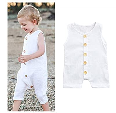 Franterd Baby Solid White Rompers with Big Button Kid Sleeveless Playsuit Jumpsuits One-Piece Pants Cotton Clothing