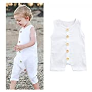 Franterd Baby Solid White Rompers with Big Button Kid Boys Girls Sleeveless Playsuit Jumpsuits One-piece Pants Cotton Clothing