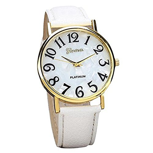 Retro Womens Watches COOKI Clearance Quartz Female watches on Sale Comfortable Leather Lady Watches-H66 (White)