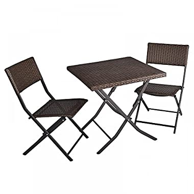 3-Piece Table And Chairs Patio Deck Outdoor Bistro Cafe Furniture Wicker Set