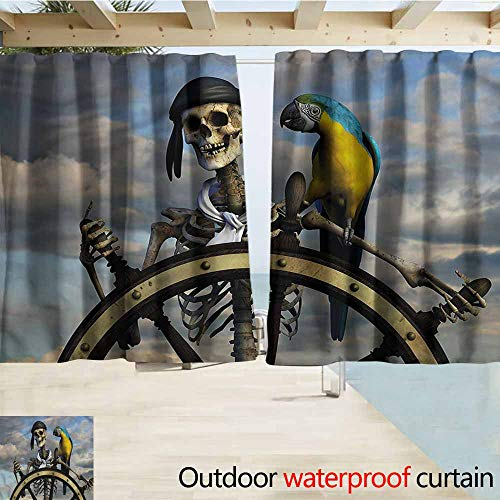 MaryMunger Balcony Curtains Pirate Captain on Steering Wheel Rod Pocket Energy Efficient Thermal Insulated W55x39L Inches