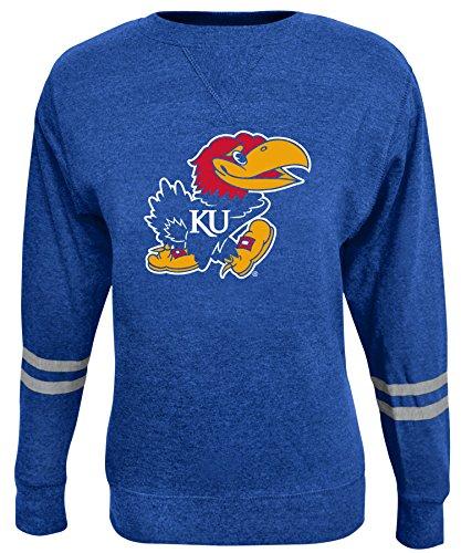 (Alta Gracia NCAA Kansas Jayhawks Women's Crew 50/50 Fleece Top, Blue,)