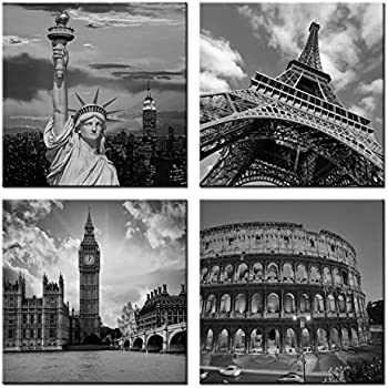 Canvasceo nyc paris london eiffel tower new for Black and white celebrity prints