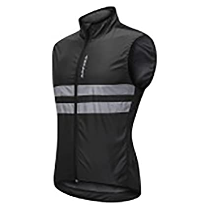 ArryJing Windproof Sleeveless Jacket Cycling Vest Breathable Reflective  Gilet Men Women Safety for Motorbike Riding and 7af5765c8
