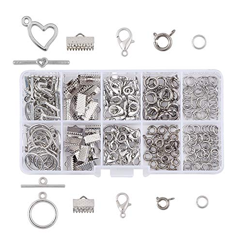 (Pandahall 1 Box Jewelry Making Finding Kits with Lobster Clasps/Spring Clasps/Toggle Clasps/Ribbon Ends/Jump Rings)