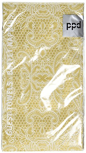 Lace Guest Towels - Paperproducts Designs 1411051 15-Pack Lace Royal Elegant Guest Towels, Gold/White