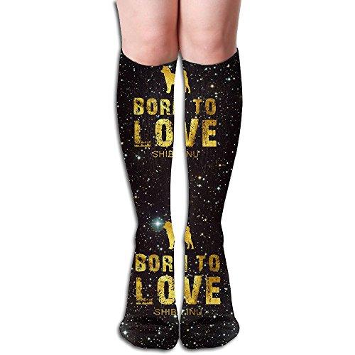 Gold Born To Love Shiba Inu Women's Long Knee-high Stockings Athletic Sport Tube - Gold Tube Born