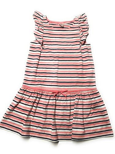 Gymboree Girls' Coral Navy Striped Flutter Sleeve Dress (Striped Flutter Sleeve Dress)