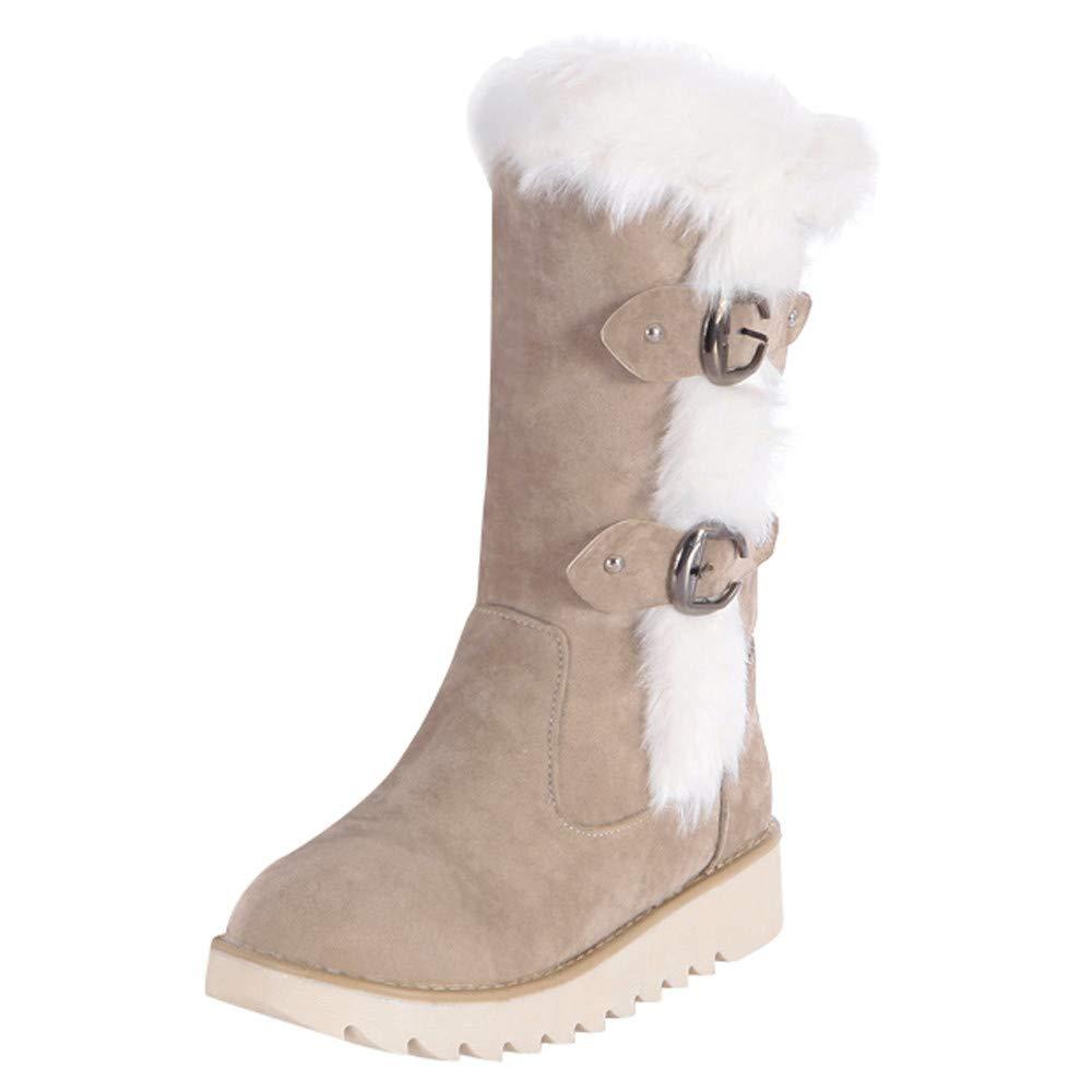ZODOF Botas de Nieve para Mujer Zapatos de Gamuza de Gamuza Redonda con Hebilla y Correa Plana Mantenga Calientes Las Botas de Nieve de Tubo Medio