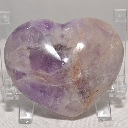 69mm x 57mm Amethyst Banded Puffy Heart Madagascar Feng Shui Spiritual Growth and Self-Cultivation Crystal Carved Purple Stone Quartz Love Heart Metaphysical Healing Mineral Crown Chakra Specimen Stone