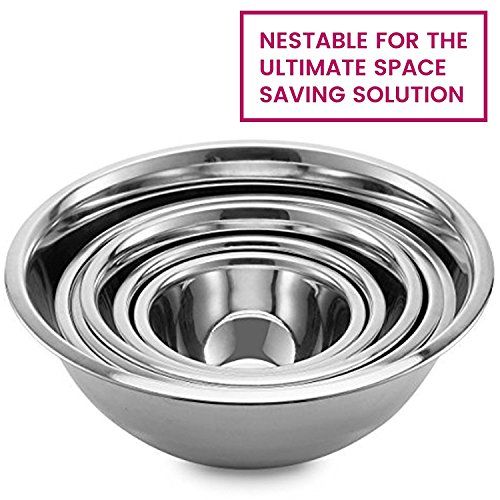 Stainless Steel Mixing Bowls by Finedine (Set of 6) Polished Mirror Finish Nesting Bowl, ¾ - 1.5-3 - 4-5 - 8 Quart - Cooking Supplies by FINEDINE (Image #5)