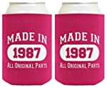 30th Birthday Gift Coolie Made 1987 Can Coolers Coolies 2 Pack Magenta