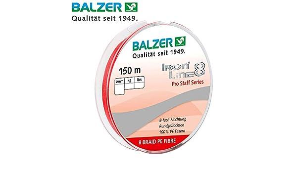 Balzer Iron Line Pro Staff 8 - Sedal Trenzado (150 m), Color Rojo ...
