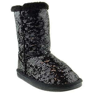 SHOEDEZIGNS Bling Kids Sequin Faux Fur Shearling Boots