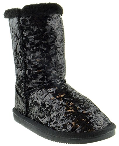 Shoe Dezigns Bling Womens Sequin Faux Fur Shearling Boots Black 5