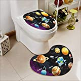 vanfan Printed Bath Heart shaped foot pad Set Solar System of Planets Milk Way Neptune Venus Mercury Sphere Horiztal Illus Toilet cushion suit