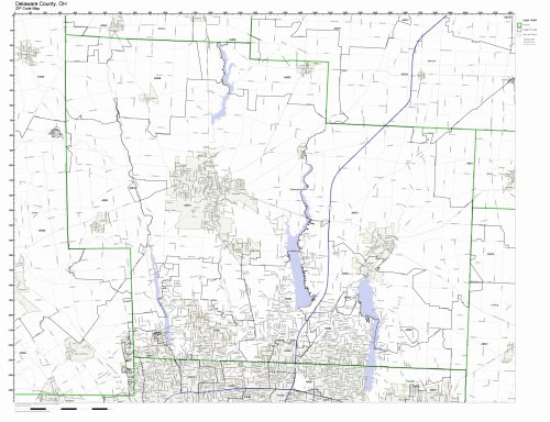 Delaware County, Ohio OH ZIP Code Map Not Laminated (Delaware Map Counties)