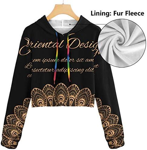 スポーツジムオフィス学校のゴールドブラック孔雀美容ファッションレディースカジュアル長袖Colorblockプルオーバースウェットクロップトップ
