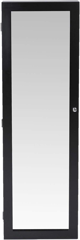 Noir, sans LED Organiseur Murale ou Accroch/ée /à la Porte en Blanc ou Noir Armoire /à Bijoux avec Miroir 36 x 120 x 9.5 cm avec ou sans LED Rangement avec Miroir