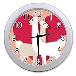 Dong Cun Bai I Love Llama Personalized custom alarm clock for children bedroom Custom Wall Clock black Unique Custom Wall Clock