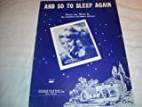 AND SO TO SLEEP AGAIN PATTI PAGE 1951 SHEET MUSIC SHEET MUSIC 239