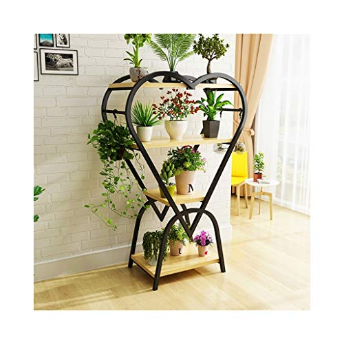 HZTWS Flower Stand Wrought Iron Living Room Ornament Heart-Shaped Pot Rack Plant Stand (Assembly) (Color : Black)