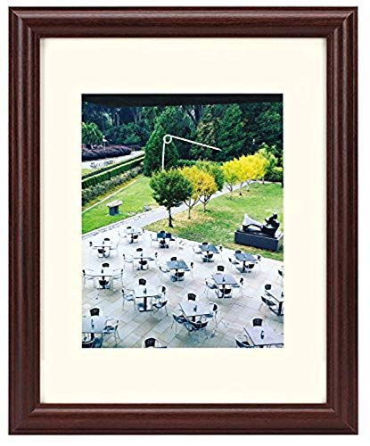 Frametory, 11x14 Picture Frame - Walnut Color, Curved Bevel Design - Made to Display 8x10 Photo with Ivory Color Mat - Real Glass (11x14, Walnut)