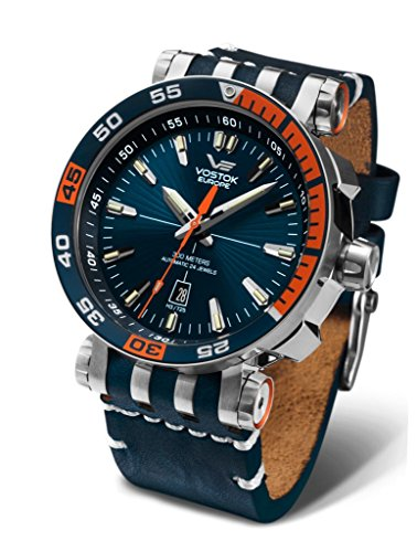 Vostok-Europe Energia 2 NH35-575A279 Leather Blue Orange Watch Pilot Automatic 49mm (Vostok Watch Blue)