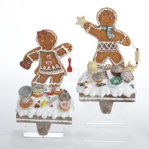 "Kurt Adler 7.5"" Gingerbread Girl and Boy Stocking Holders Set of 2 Assorted"