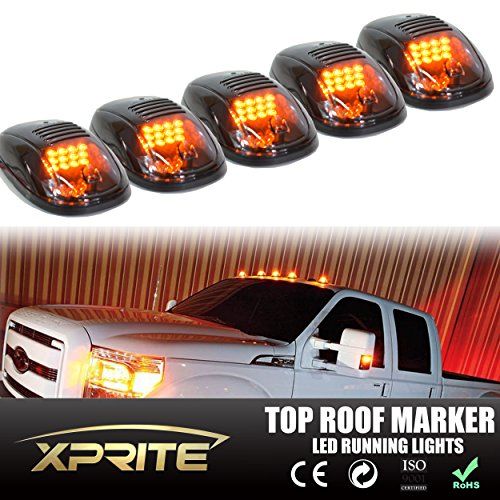 Xprite Newest Conception 5pcs 12 LEDs Amber Yellow LED Cab Roof Top Marker Running Clearance Lights For Ford Truck SUV Pickup 4x4 (Black Smoked Lens Lamps)