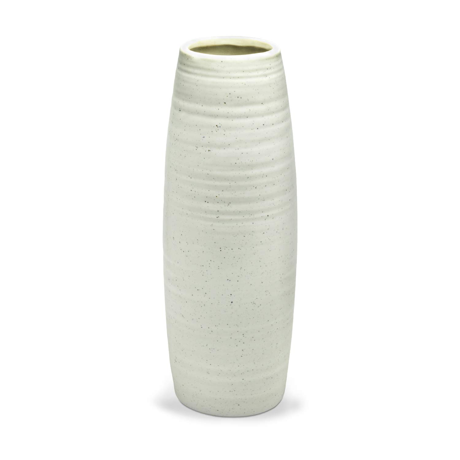 Flower Bouquet Vase, Dr.Cerart 8.5 Inch White Textured Ceramic Vase for Home Decor, Centerpieces, Office - Ideal Present Choice