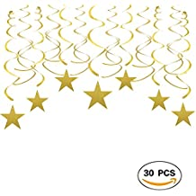 Gold Twinkle Stars Swirls Decorations Shiny Metallic Hanging Decorations Foil Stars Garland Wedding Favors Birthday Baby Shower Party Decorations, 30pcs