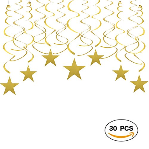 Shiny Roof (Gold Twinkle Stars Swirls Decorations Shiny Metallic Hanging Decorations Foil Stars Garland Wedding Favors Birthday Baby Shower Party Decorations, 30pcs)