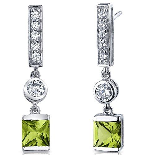 Peridot Princess Cut Dangle Earrings Sterling Silver Rhodium Nickel Finish 2.00 Carats