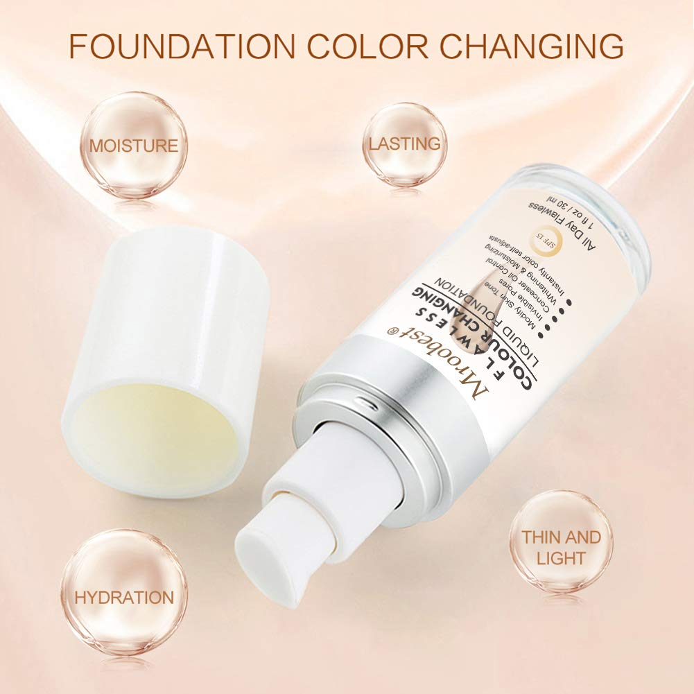 Flawless Finish Foundation,Colour Changing Liquid Foundation, Liquid Foundation Cream,Moisturizing Liquid Cover Concealer for All Skin Types, SPF 15,1 Fl Oz by CIDBEST (Image #4)