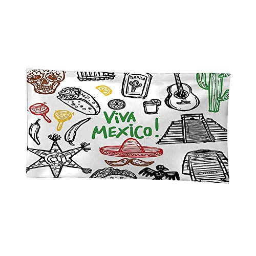 Polyester Fabric Wall Decor (60W x 51L Inch) Wall Hanging Bedroom Living Room Dorm Home Decor TapestryMexican Decorations Sketch Latin Object Burritos Guitar Tequila Bottle Pinata Quetzal Coati -